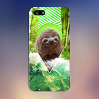 Geometric Nature Sloth x Green Mountains Phone Case for iPhone 6 6 Plus iPhone 5 5s 5c 4 4s Samsung Galaxy s6 s5 s4 & s3 and Note 5 4 3 2