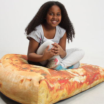 Slice of Pizza Printed Burger Adult-Size Beanbag Chairs