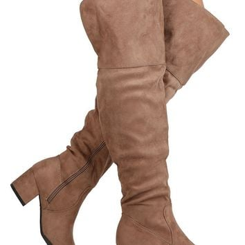 Women's Faux Suede Over The Knee Thigh High Chunky Heel Dress Boot
