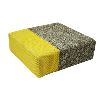 """Elizbet"" Natural/Vibrant Yellow Handmade Wool Braided Square Pouf"