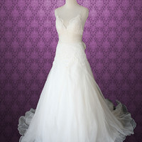 Whimsical Cross Back Organza V Neck A-line Lace Wedding Gown