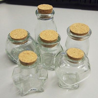 Mini Glass Favor Corked Jar Bottles, 12-Piece