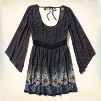 Patterned Chiffon Peasant Dress