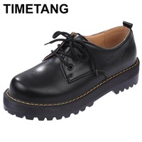 TIMETANG  British Style Women Oxfords New Spring Winter Lace-Up Flats Round Toe Creepers Casual Ladies Platform Shoes Woman
