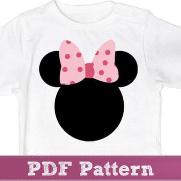 Minnie Mouse applique template pattern - Disney applique PDF