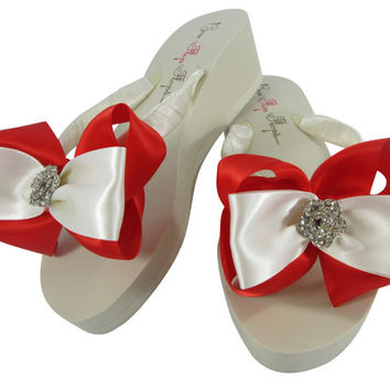 Wedding Flip Flops for the Bridesmaid or Bride - Rose Embellishment- Poppy Red Satin bows on flat or wedge sandal shoes