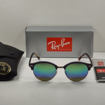 RAY-BAN CLUBROUND SUNGLASSES RB4246 1221C3 VIOLET/GREEN RAINBOW FLASH LENS 51MM