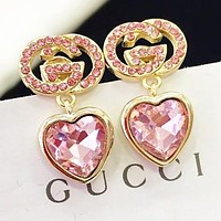 GUCCI New fashion diamond letter love heart long earring