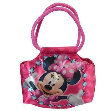 "Licensed Disney Minnie Mouse Bowtique 7"" Satin Handbag with Rope Handle"