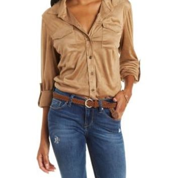 Camel Faux Suede Button-Up Shirt by Charlotte Russe