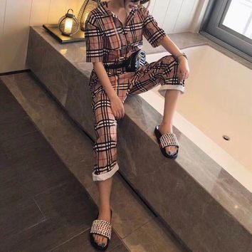 """Burberry"" Women Casual Fashion Multicolor Tartan Short Sleeve Lapel Romper Jumpsuit Leisure Pants Trousers"