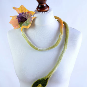 Purple, green and yellow nuno felt flower necklace with silk fabric - fiber rope, hand dyed wool, long, romantic, teen jewelry [N132]