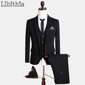 (Jacket+Pant+Vest) Luxury Black Suits