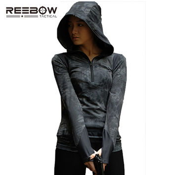 REEBOW TACTICAL Autumn Women Shirt Outdoor Sport Hood Camouflage Elastic Breathable Hooded Pullover Combat Paintball Game