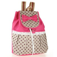 Girls Super Cute Lace Casual Canvas Bowknot School Backpack