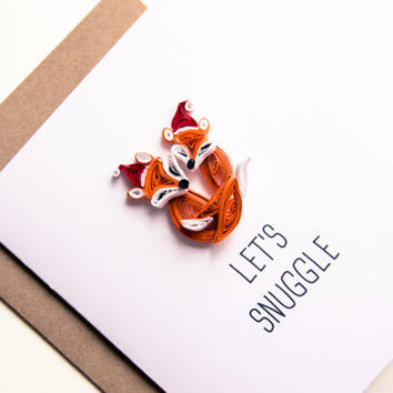 Romantic Christmas Cards - Lets Snuggle Card - Fox Christmas Cards - Fox Couple Cards - Christmas Couple Cards