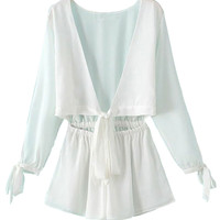 White Open Belly Slit Sleeve Multiway Romper
