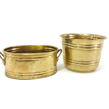 Set of Brass Planters, Flower Pot, Small Planter, Garden Container, Succulent Bowl, Vintage Gold, Herb Garden, Gardening, Home Decor
