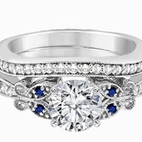 Engagement Ring - Blue Eyes Butterfly Bridal Set in 14K White Gold - ES334BRBSBS
