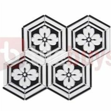 Luxe Crystal Glass Flower Hexagon Water jet Mosaic Tile