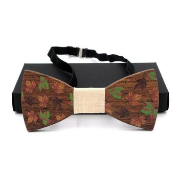 GUSLESON Solid  Wooden Bow Tie For Men Weeding Fashion Three-dimensional Wood