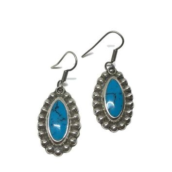 Turquoise Earrings Sterling Silver Taxco Mexico Signed, Southwest Vintage Silver Jewelry, Vintage Earrings, Bohemian Hippie