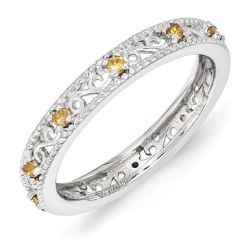 3mm Sterling Silver Stackable Expressions Citrine Scroll Band