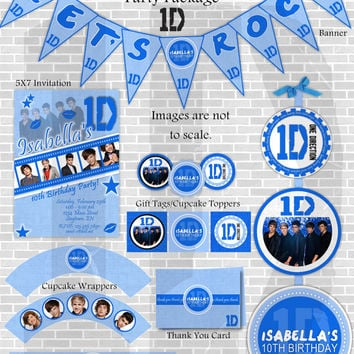 ONE DIRECTION Printable Birthday Decoration Party Package and Invite-Customized with your party details.Blue, pink, purple. 1D.