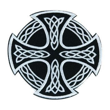 ac spbest Celtic Iron Cross Patch Iron on Applique Alternative Clothing Viking Warrior
