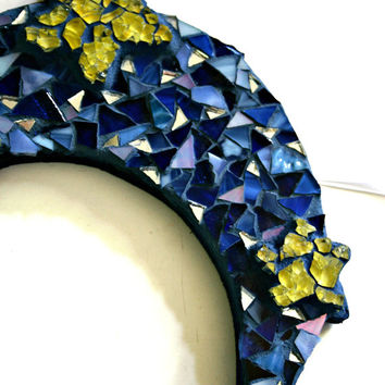 Etsy Mosaic Celestial Moon #2 Stained Glass Glow-In-The-Dark Stars Nursery Bohemian Decor Hippie Art Childs Room Approximately 6.5 inches