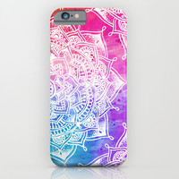 White Mandala on Watercolour iPhone & iPod Case by Laurel Mae