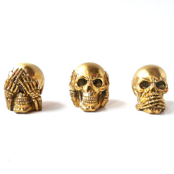see no evil skull set, skulls, figurines, goth, metallic gold, skull heads