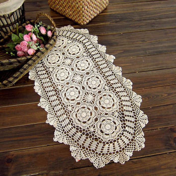 Crochet  Table runner   38X76CM, Shabby Chic Wedding, Home decor, OVAL , Beige