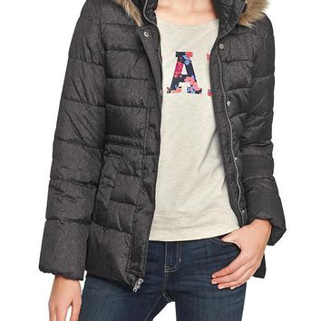 Gap Women Factory Faux Fur Quilted Jacket