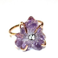 Amethyst Ring Stalactite Ring Gold Filled Ring Size 7 Druzy Ring Stalactite Jewelry Delicate Ring Amethyst Jewelry Druzy Jewelry Drusy Ring
