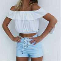Flounced Cape Off Shoulder Crop Top