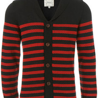 Navy Textured Stripe Cardigan - Mens Cardigans & Sweaters  - Clothing