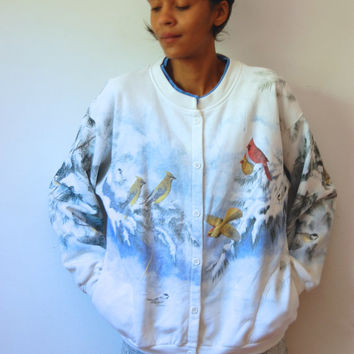 Vtg Birds Winter Print White Button Down Cotton Sweatshirt