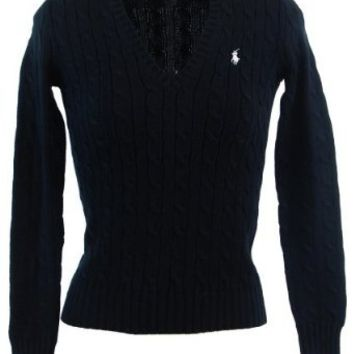 Ralph Lauren Sport Womens Cable Knit V-Neck Polo Pony Logo Sweater - Black