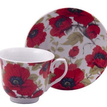 Red Poppy Discount Tea Cups and Saucers Case of 24 Cheap Priced for Events FREE SHIPPING!