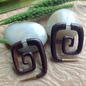 "Fake Gauge Earrings, ""Squared"" Spirals, Natural, Sono Wood, Brass, Handcrafted"
