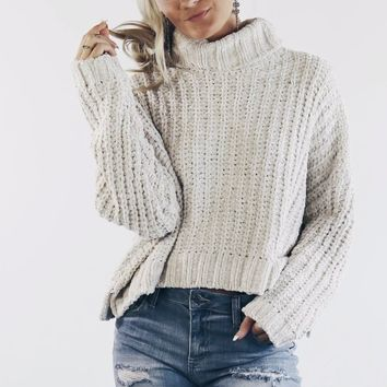 Big Cities Almond Oversized Chenille Turtleneck Pullover Sweater