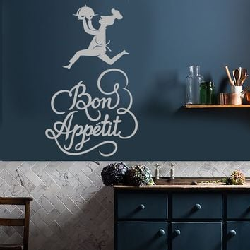 Vinyl Wall Decal Bon Appetit Cook Chef Quote For Kitchen Stickers (2235ig)