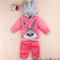 Sale 2pcs/set Kids Baby Fleece Suit Boys Girls Cartoon Rabbit Hooded Sweatshirt Pant Sport Clothes Hoodies Children Clothing SV023646
