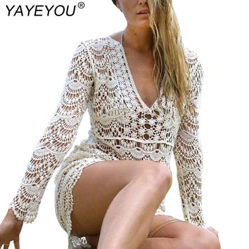 YAYEYOU 2017 Bohemian Style Women Summer White Dress Sexy Casual V Neck Long Sleeve Lace Crochet Loose Mini Beach Dresses