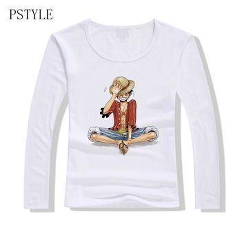 One Piece T shirt Women Japanese Anime Clothing Luffy Women Long sleeves T-shirt Female Spring Autumn clothing Top Tee 2019