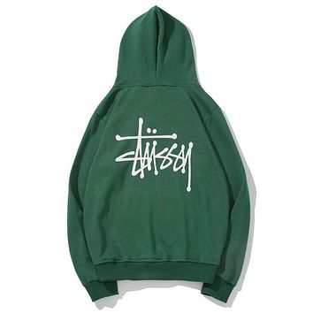 Stussy Fashion Women Men Loose Print Long Sleeve Hoodie Sweater Top Sweatshirt Green I13865-1