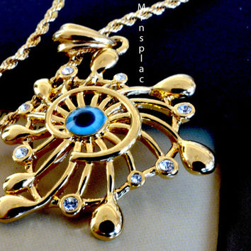 Shining Gold-tone Rope Chain Necklace & Classic Unique Unisex Muslim Arabic Islamic Gold-tone Blue Evil Eye Men's Pendant
