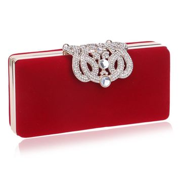 Clutches Evening Bag Crow s velvet day purse crystal /red color tote