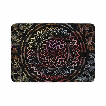 "Famenxt ""Botanical Watercolor Mandala"" Black Multicolor Illustration Memory Foam Bath Mat"